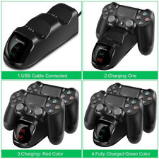 Dual Charger Dock Station +USB Charging Cable For PS4 PlayStation 4 Controller