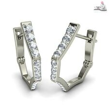 14k Real white gold 0.35ct Certified Diamond Hoop huggie earrings Gift Jewelry