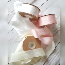 7,13,25,30mm 100% Silk Ribbon Dyed & Undyed Wedding  Pink, Ivory, White, Grey