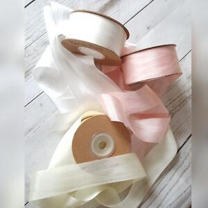 7,13,25,30mm 100% Silk Ribbon Dyed & Undyed Wedding Blush Pink, Ivory, Grey,Blue
