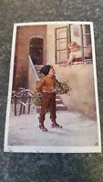 AK Alte Kinderpostkarte  Weihnachts Gruß Mädchen Fenster Junge Hof Blumen 11551