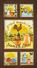Sunflower Coffee Fabric - Country Kitchen HG&Co Good Morning Sunshine - PANEL