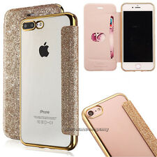 Bling Glitter Leather Flip Case Silicone Clear Cover Wallet for iPhone X 6s 8 7