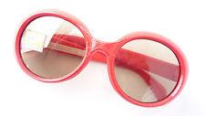 Rojo Brillante 60er Años Gafas de Sol Mujer Plástico 50% Braun Cristal Real SIZE