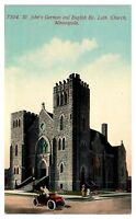 Early 1900s St. John's German & English Lutheran Church, Minneapolis MN Postcard