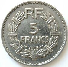 """FRANCE- 5 Francs 1935 """"LAVRILLIER""""  Nickel •12 g • ⌀31 mm"""