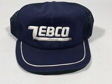 ZEBCO vintage mesh trucker snapback blue hat cap ballcap NOS