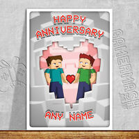 PERSONALISED ANNIVERSARY CARD - minecraft themed love romantic same sex gay day