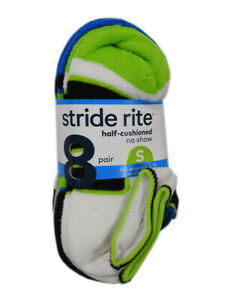 Stride Rite 8-Pack Boys Large Cotton Blend Half-Cushioned No Show Socks, Multi