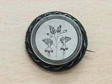 ANTIQUE SILVER FLORAL LOCKET BACKED BROOCH PIN 1880