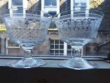Pair of Pretty Handmade Engraved Cocktail or Wine Glasses