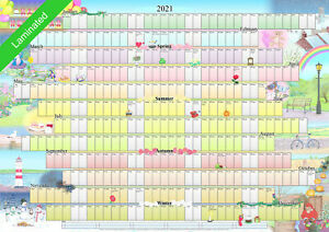 Illustrated Wall Planner - 2021 Laminated (A1 Size) Calendar Poster Organiser