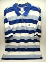 Brooks Brothers Mens Polo Shirt Size XL Blue White Striped 1818 Short Sleeve