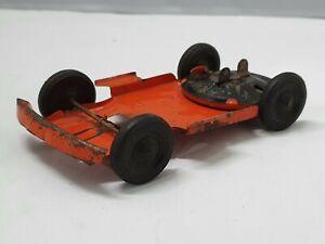 Kingsbury Tin Car Clockwork Chassis Orange 1930's 100% Vintage For Parts Working