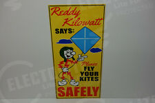 Reddy Kilowatt LARGE KITE SAFETY DIE CUT HEAVY DUTY SIGN ELECTRICIAN GIFT!