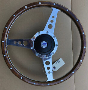 """Triumph Spitfire GT6 TR6 Traditional Polished Alloy Wood 15"""" Steering Wheel"""