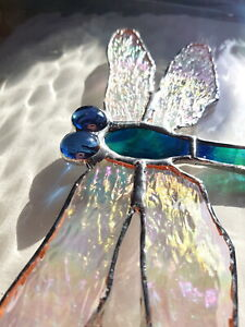 Blue green Dragonfly stained glass suncatcher window wall hanging Wildlife gift