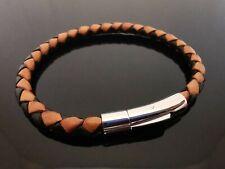 """5mm Schwarz & Braun geflochtenes Leder 8"""" Armband Bracelet ~ Edelstahl Verschluss"""