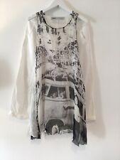 Rundholz Mainline Sleeveless Silk Printed Front Tunic