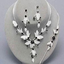 Conjunto De Malla Negro Diamante Cristal Plata Collar Pulsera Pendientes De Novia Fiesta De Graduación 272