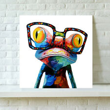 Modern Abstract Wall Art Oil Painting Canvas Colorful Glasses Frog(Not Framed)