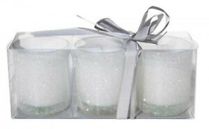 White Sparkles Glass Votive Tealight Candle Holder - set of 3,La Vida
