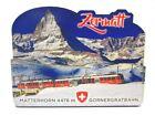 Zermatt Matterhorn Holz 2D Magnet 10 cm Souvenir Schweiz Gornergratbahn