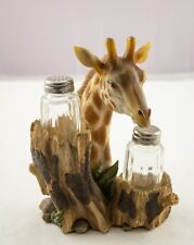 Dwk Giraffe Head with Tree Trunk Salt and Pepper Shakers Holder Set 2010