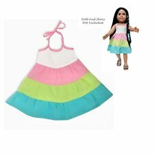 "SF Springfield TRI-COLORED TIER DRESS for 18"" Dolls American Girl Summer NEW"