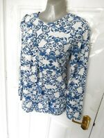 M&S Ladies Size 14 Blue White Soft Feel Frill Detail Blouse Top Blogger