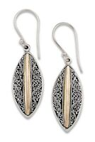Samuel B Sterling Silver & 18K Yellow Gold Inset Filigree Drop Earrings New $120
