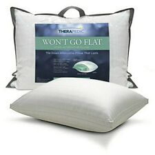 NWT - THERAPEDIC 'WON'T GO FLAT' White SIIDE SLEEPER PILLOW - STANDARD/QUEEN