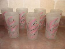 7 Art Deco Hand Painted Feathers / Ferns Silver and Pink Frosted Glass Tumblers