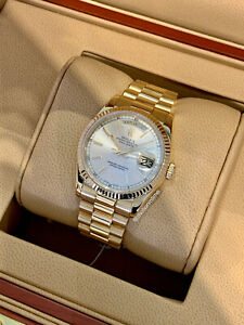 Rolex Day-Date 36mm President, Silver Sundust Dial - 18kt Yellow Gold, 118238
