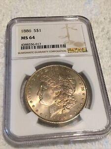 1886 Morgan Silver Dollar NGC MS64 Golden/Orange Color Toned Coin