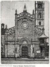 Prato in Toscana: il Duomo. Piana Pratese. Stampa Antica + Passepartout. 1901