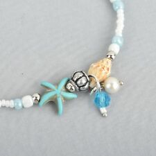Beaded Beach Anklet Starfish and Seashell jlr0197