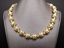 Tiffany & Co Signature X 18k Yellow Gold Classic XOXO Link Necklace Box 132 gr