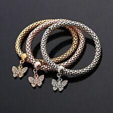 Damen Armband Armreif Armkette elastisch Tricolor Silber Gold Rosegold NEU