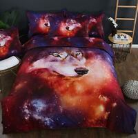 3D Wolf Quilt Duvet Cover Animal Bedding Set Comforter Cover Pillowcases 3Pcs
