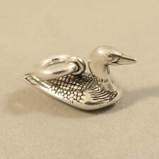 .925 Sterling Silver 3-D LOON CHARM Pendant NEW Duck Goose Aquatic Bird 925 BI55