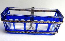 RARE cendrier de voiture, cristal bleu Saint-Louis + métal argenté: Napoléon III