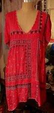 JOHNNY WAS LA HOT PINK EMBROIDERED RAYON TUNIC TOP DRESS SZ L 14 16 EUC