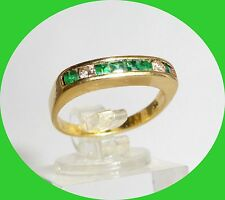 Unique 18k Yellow Gold Emerald & Diamond Band - Size 6