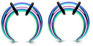 Pair 1g 7mm Rainbow Steel Ear Plugs Tapers Pinchers Horseshoes Gauges 1 gauge