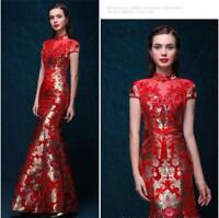 Vogue Cheongsam QiPao Chinese Women Slim Fit Wedding Dress Night Long Floral New