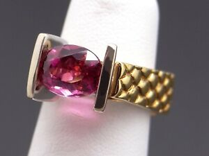 Fantastic HL Designed 18k Yellow Gold 2ct Oval Cut Pink Tourmaline Ring Size 6