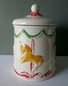 AMERICAN BISQUE POTTERY - VINTAGE HORSE CAROUSEL COVERED COOKIE JAR