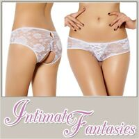 White Pink Black Blue Sexy Crotchless French Knickers Size 10 12 14 16 18 20 22