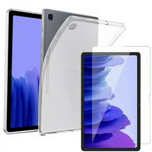 """Samsung Galaxy Tab A7 10.4"""" T500 T505 TPU Gel Cases Tempered Glass Tablet Cover"""